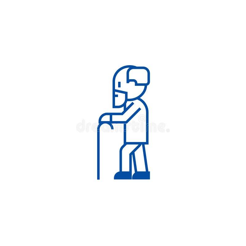 Persona mayor con la barba y la línea concepto del icono Persona mayor con la barba y el símbolo plano del vector, muestra, esque ilustración del vector