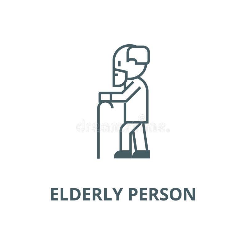 Persona mayor con la barba y la línea icono, vector Persona mayor con la muestra de la barba y del esquema, símbolo del concept stock de ilustración