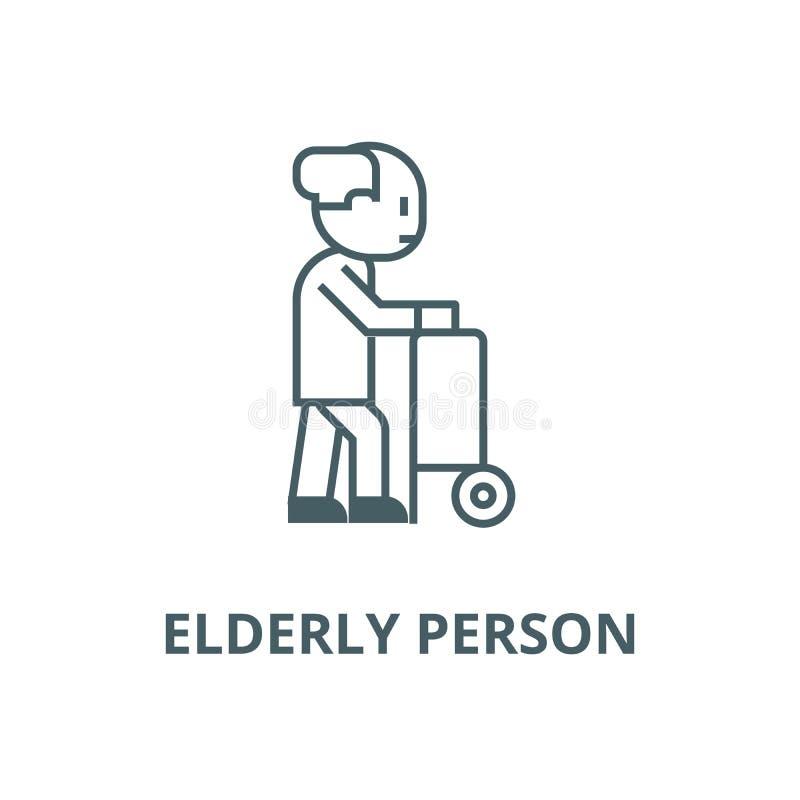 Persona mayor con las ruedas de la ayuda alinear el icono, vector Persona mayor con la muestra del esquema de las ruedas de la ay libre illustration