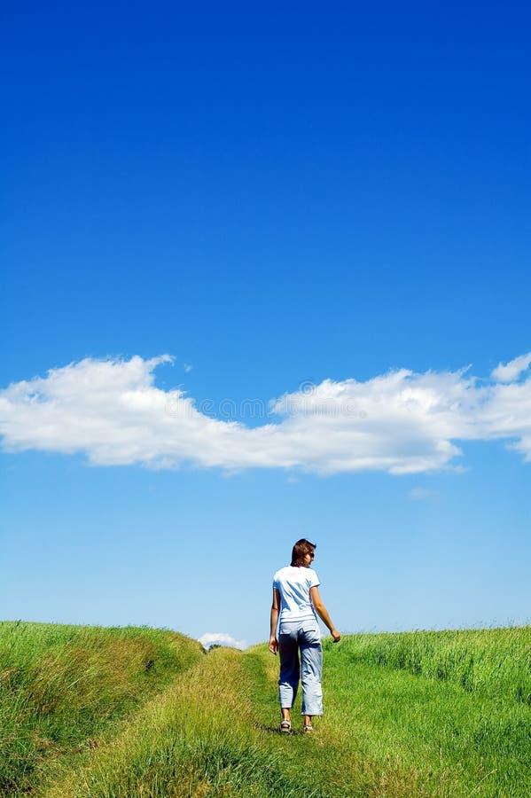 Persona nel campo verde 5 immagini stock