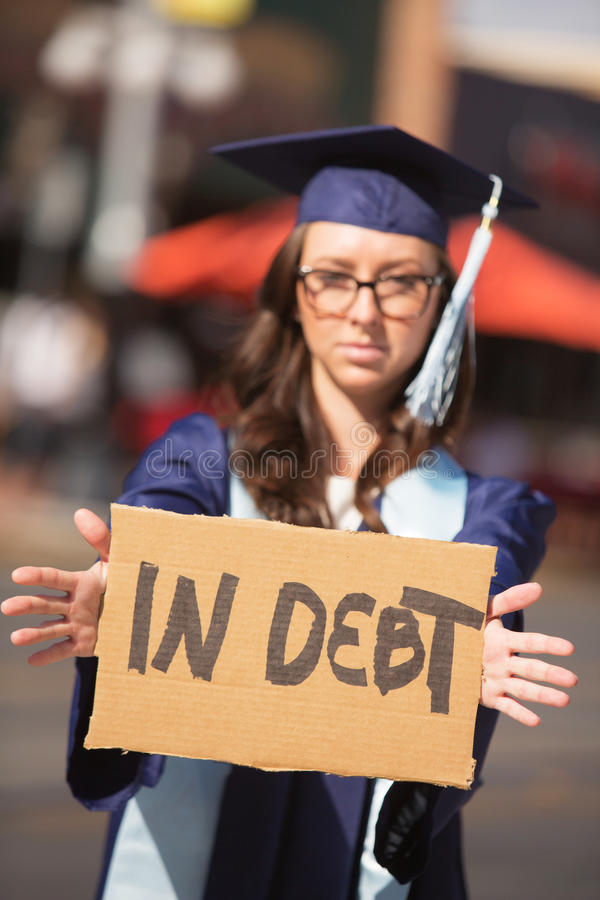 Persona nel debito immagine stock