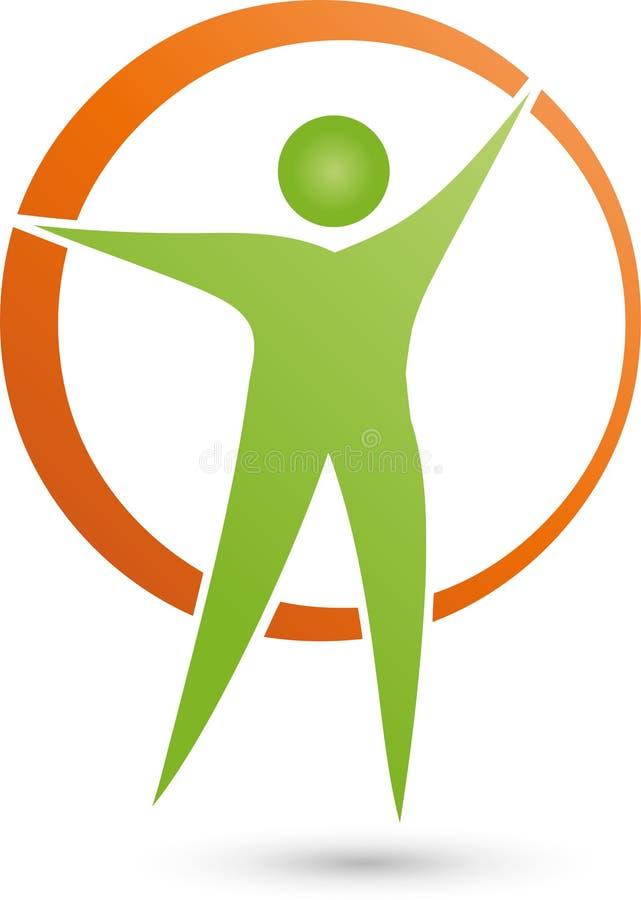 Persona nel logo di moto e del cerchio, di forma fisica e di salute royalty illustrazione gratis
