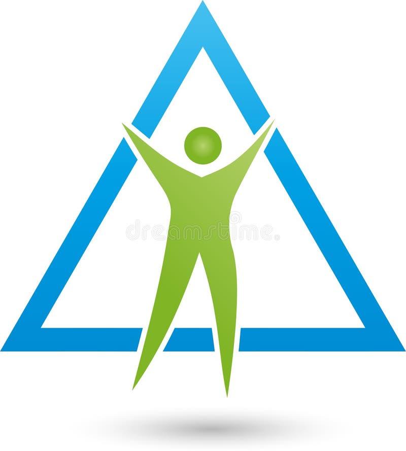 Persona nel logo di moto e del triangolo, di forma fisica e di salute royalty illustrazione gratis