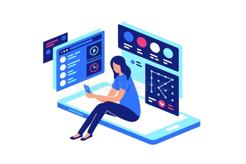Persona nell'interattività visiva mobile con lo smartphone illustrazione di stock