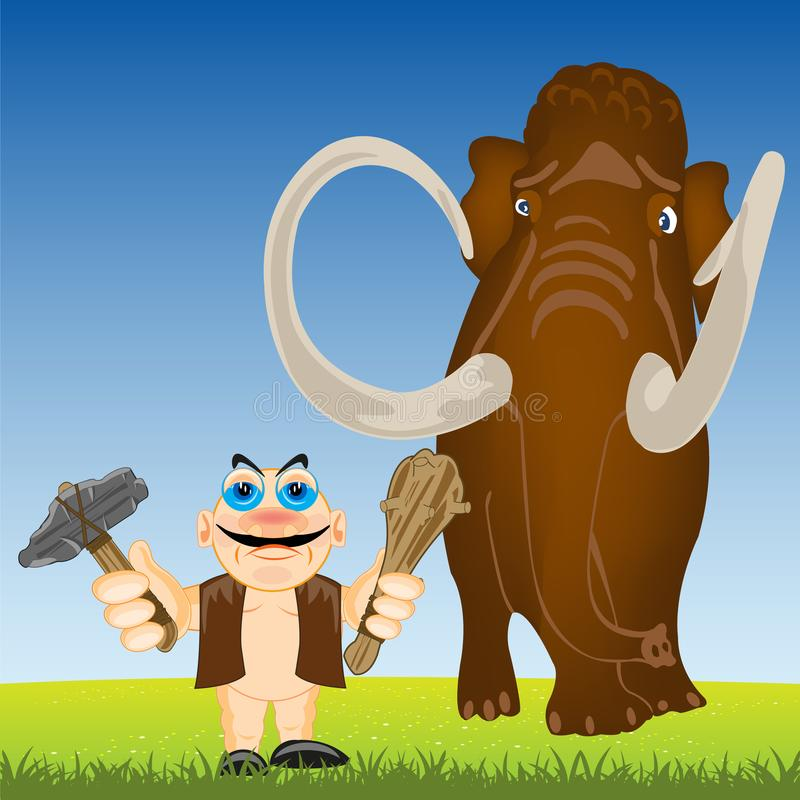 Persona primitiva e mammut sulla radura di anno illustrazione di stock