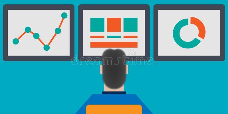 Persona que analiza datos a partir de tres monitores stock de ilustración