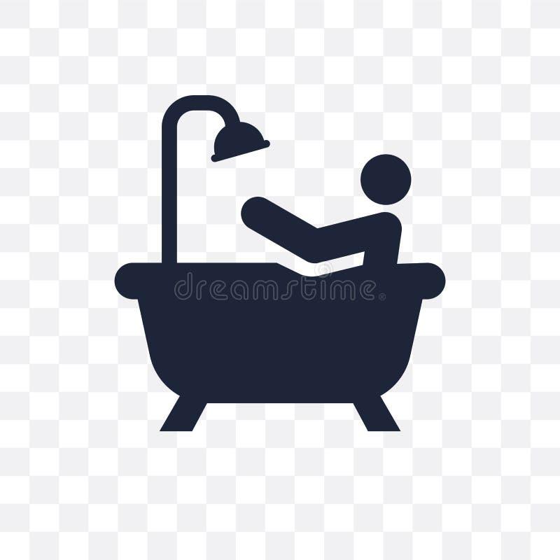 Persona que baña el icono transparente Persona que baña el diseño franco del símbolo libre illustration