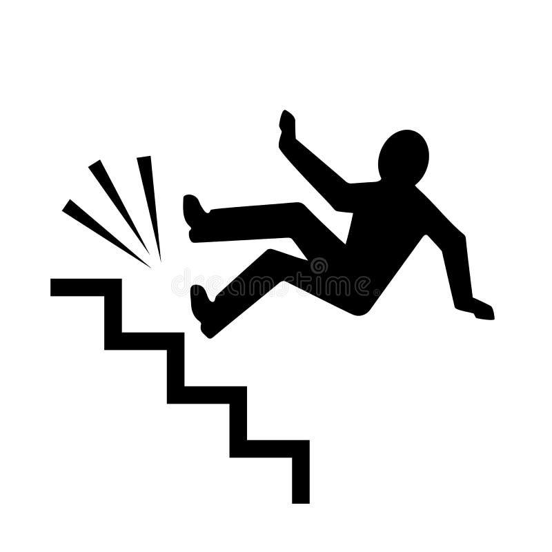 Persona que cae abajo el icono de las escaleras ilustración del vector
