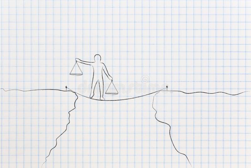 Persona que camina en el tightline que sostiene las placas de escala de la balanza en unba ilustración del vector