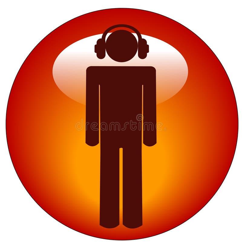 Persona que escucha el icono de la música stock de ilustración