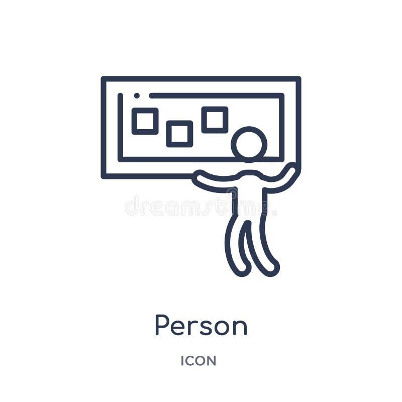 persona que explica el icono de los datos de la colección del esquema de la interfaz de usuario Línea fina persona que explica el libre illustration