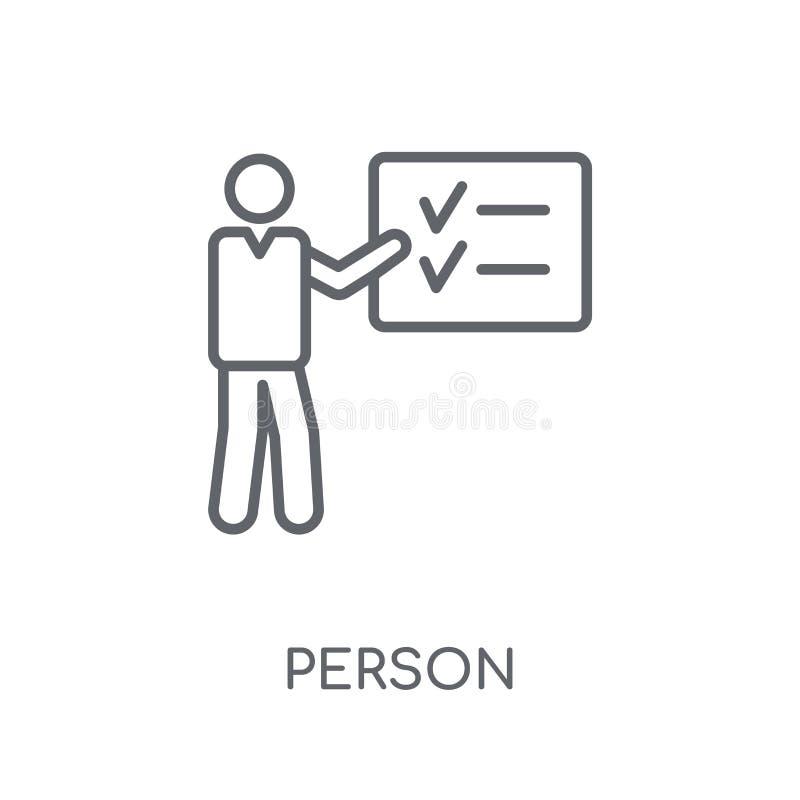Persona que explica el icono linear de la estrategia Persona moderna del esquema ex ilustración del vector