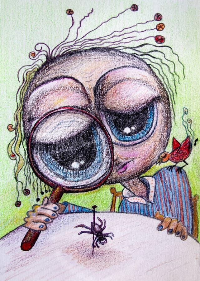 Persona que mira el dibujo de la historieta de la araña ilustración del vector
