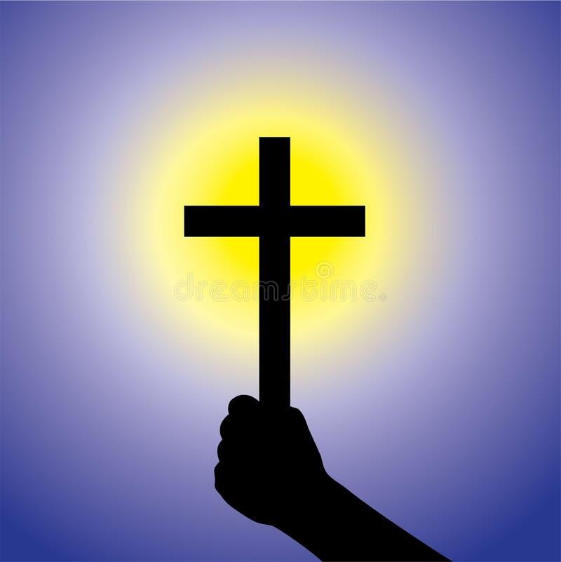 Persona que muestra la fe en señor llevando a cabo la cruz santa gráfica libre illustration