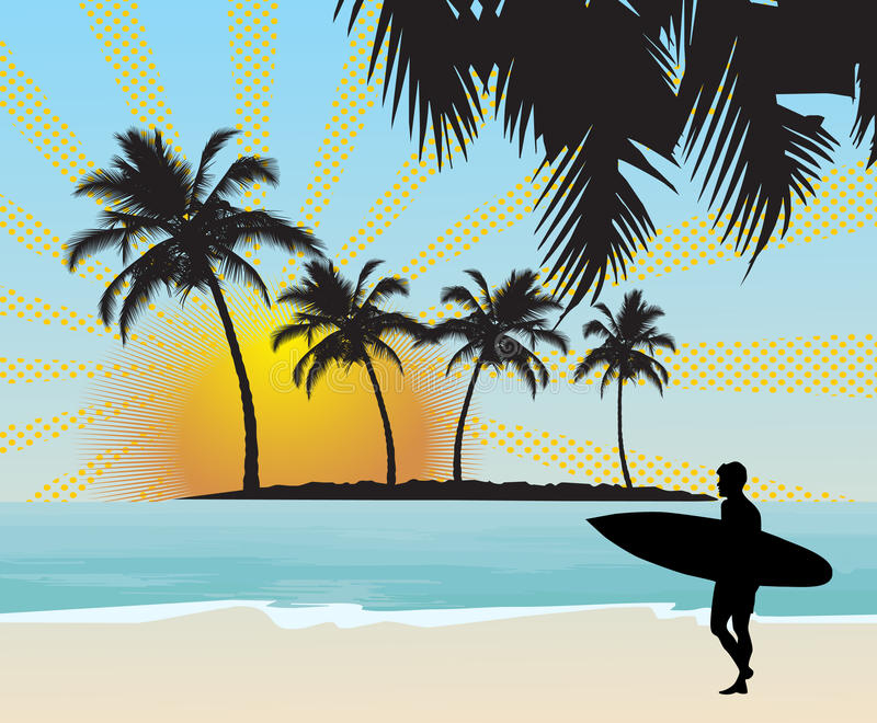 Persona que practica surf stock de ilustración