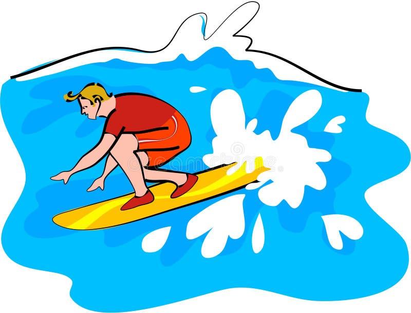 Persona que practica surf libre illustration