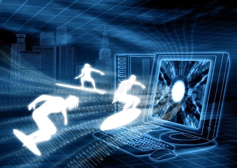 Persona que practica surf de Internet ilustración del vector