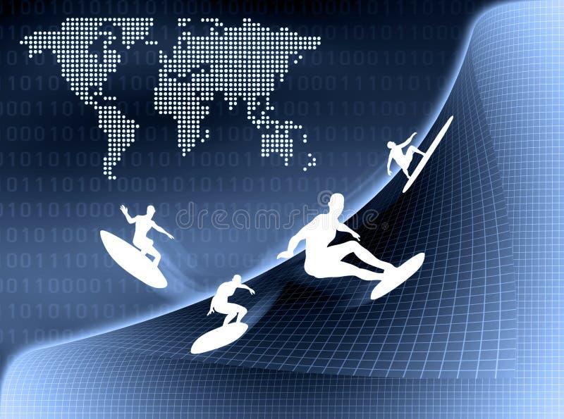 Persona que practica surf de Internet libre illustration