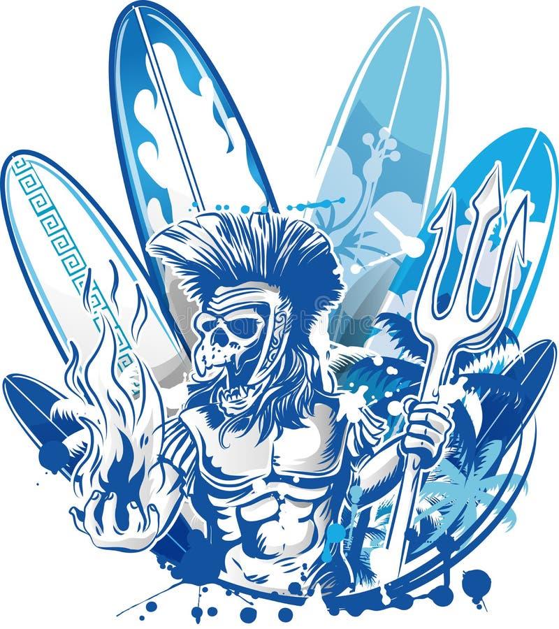 Persona que practica surf de la muerte de Poseidon ilustración del vector
