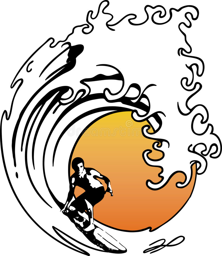 Persona que practica surf de la onda ilustración del vector