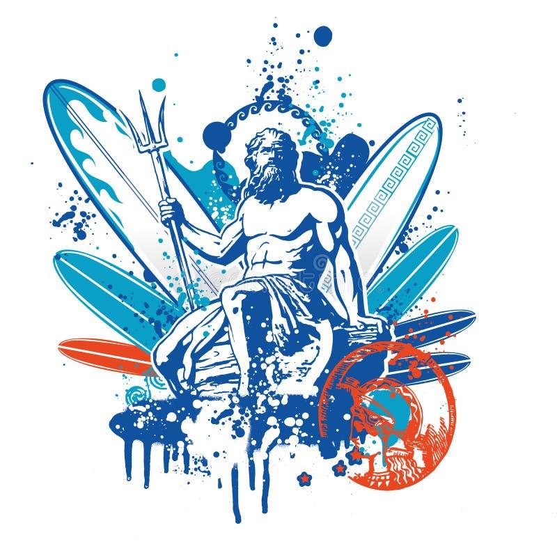 Persona que practica surf de Poseidon stock de ilustración