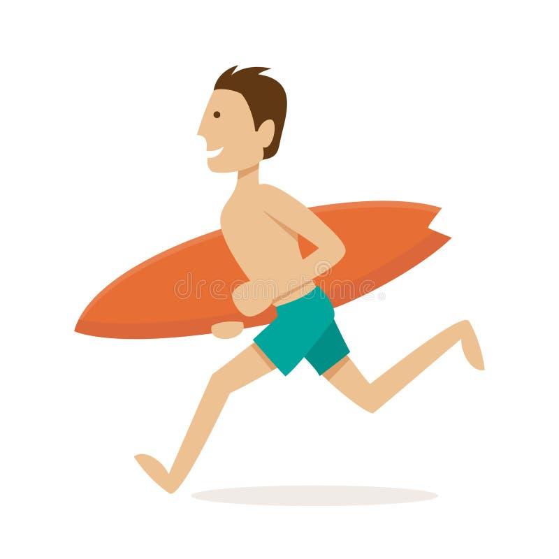 Persona que practica surf de sexo masculino Ilustración del vector ilustración del vector