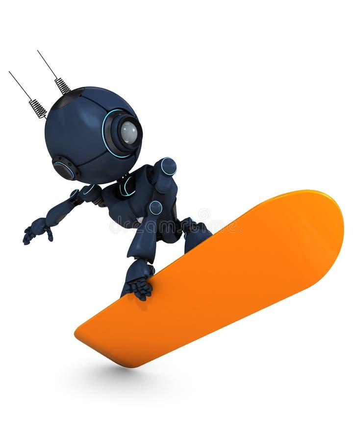 Persona que practica surf del robot ilustración del vector
