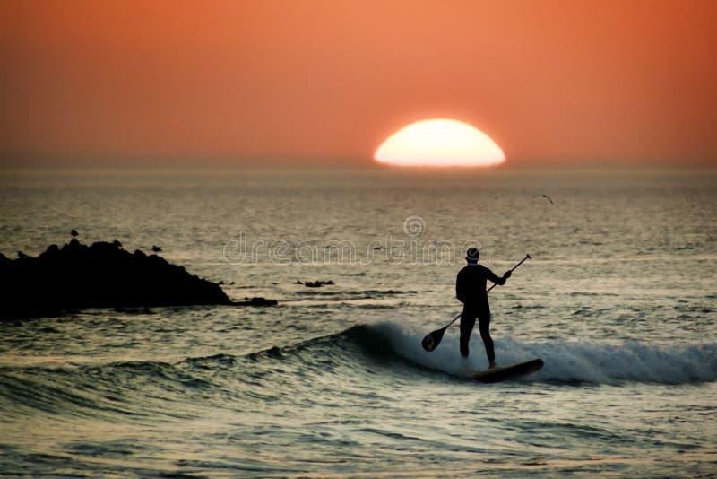 Persona que practica surf del tablero de paleta en la puesta del sol foto de archivo libre de regalías