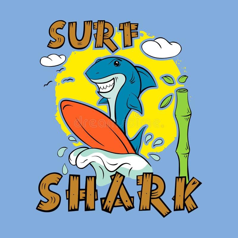 Persona que practica surf del tiburón Impresión para la camiseta ilustración del vector