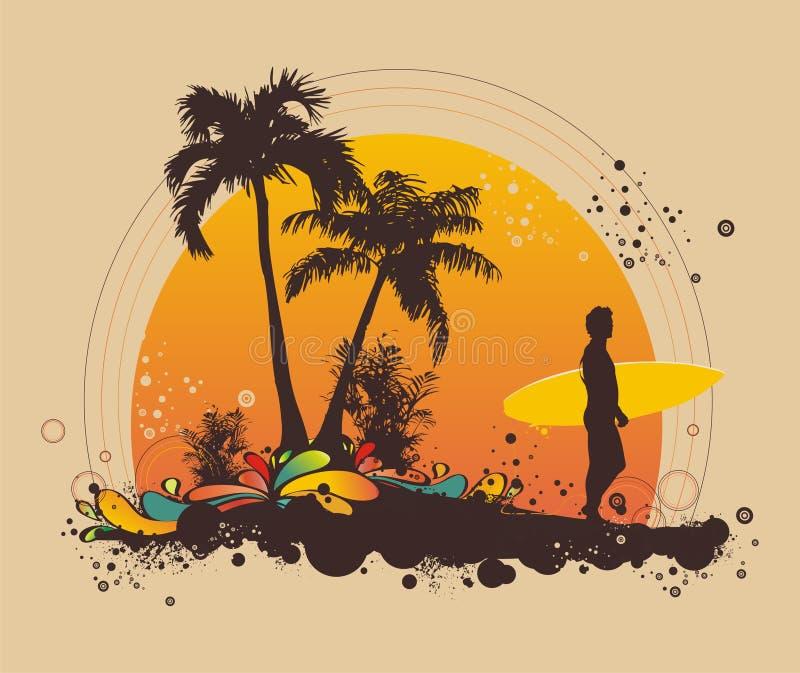 Persona que practica surf en la playa stock de ilustración