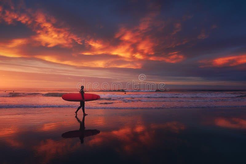 Persona que practica surf en la playa en la puesta del sol con el cielo rojo imagen de archivo