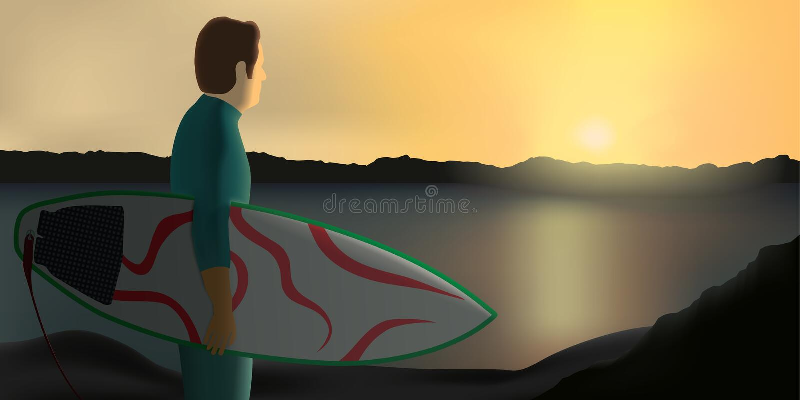 Persona que practica surf en la puesta del sol libre illustration