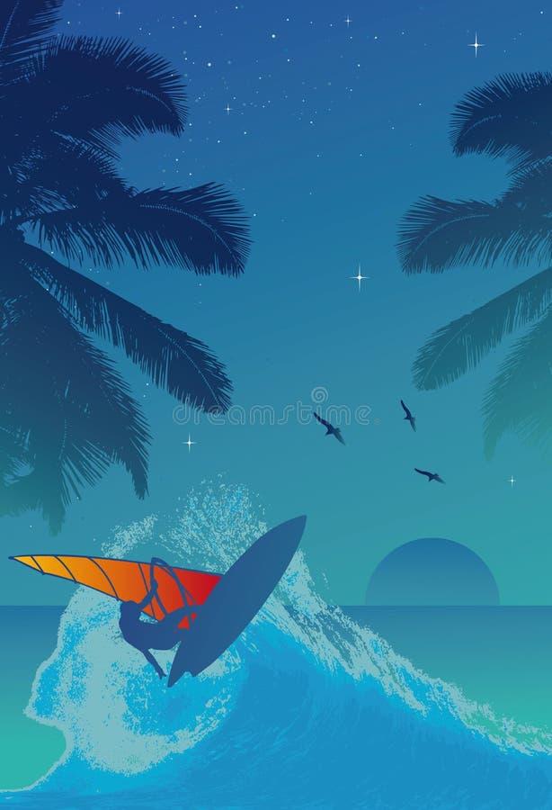 Persona que practica surf en la puesta del sol ilustración del vector