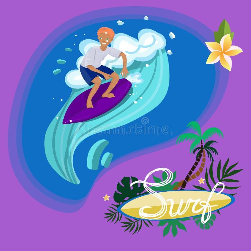 Persona que practica surf en nadadas de la camiseta y de los pantalones cortos en la imagen del vector de onda ilustración del vector