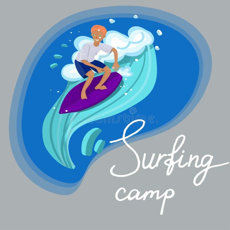 Persona que practica surf en nadadas de la camiseta y de los pantalones cortos en la imagen del vector de onda libre illustration