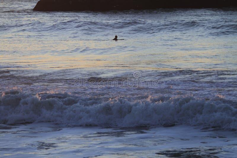 Persona que practica surf en San Francisco Lands End imágenes de archivo libres de regalías