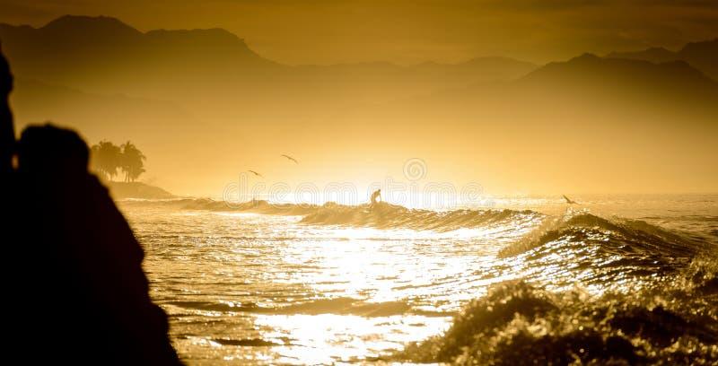 Persona que practica surf en una silueta de la onda imágenes de archivo libres de regalías
