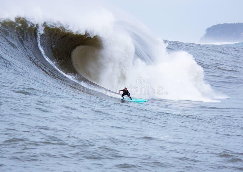 Persona que practica surf grande Shaun Walsh Surfing Mavericks California de la onda foto de archivo