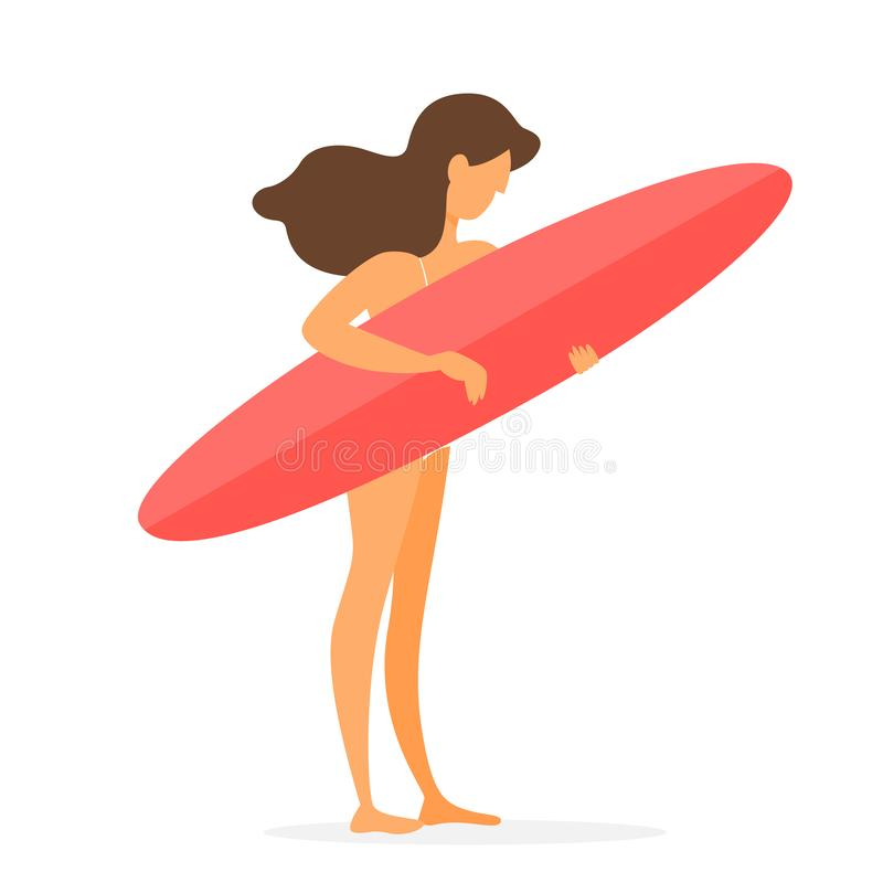 Persona que practica surf hermosa joven de la muchacha con el tablero en la playa del verano stock de ilustración