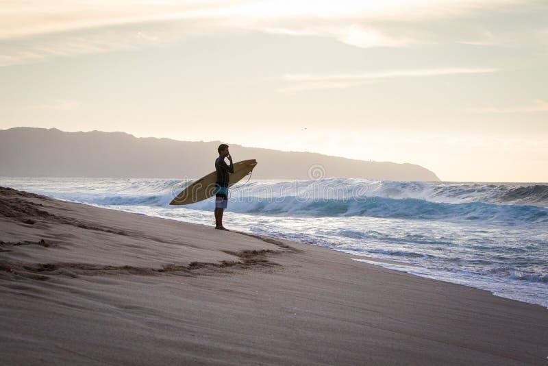 Persona que practica surf que mira ondas de fractura en la orilla del norte Hawaii foto de archivo