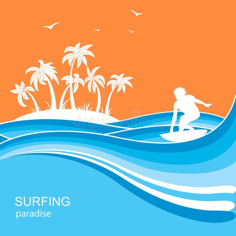 Persona que practica surf y fondo de las ondas del mar Ejemplo de la naturaleza del verano stock de ilustración