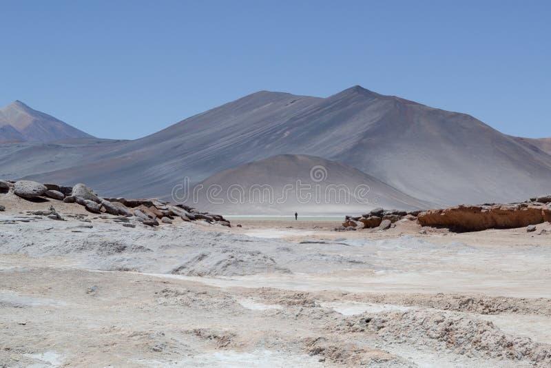 Persona que se coloca solamente en el middel del paisaje extenso de la montaña imagen de archivo