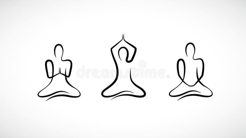 Persona que se sienta en diversa posición de loto de la yoga libre illustration