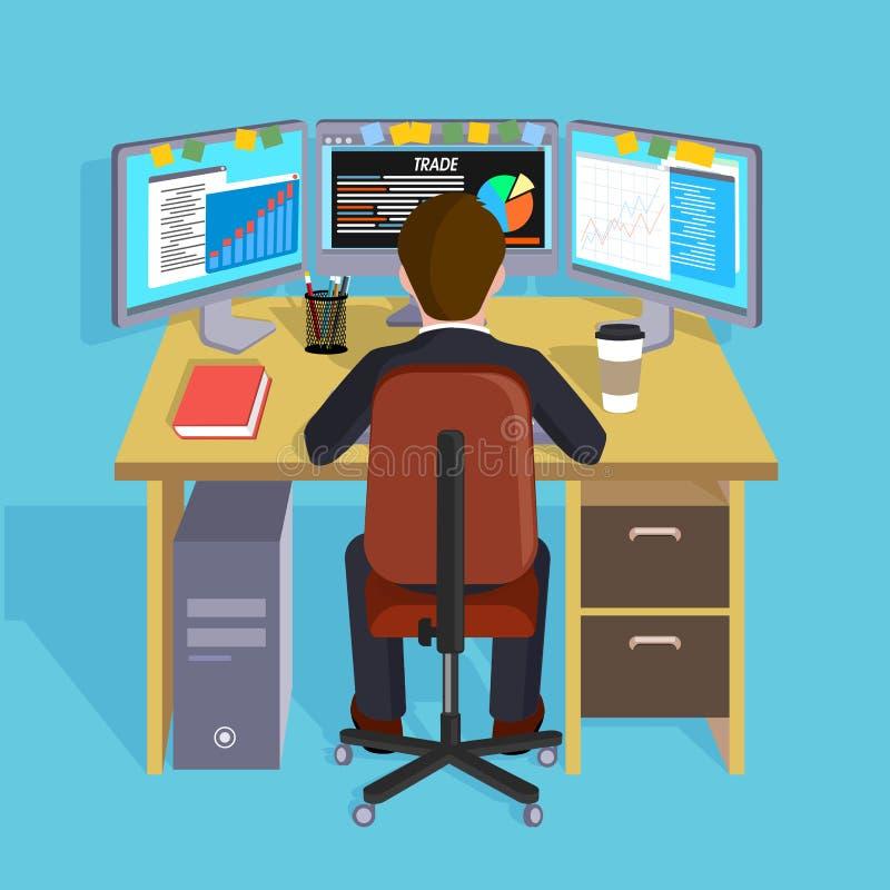 Persona que trabaja en el ordenador ilustración del vector