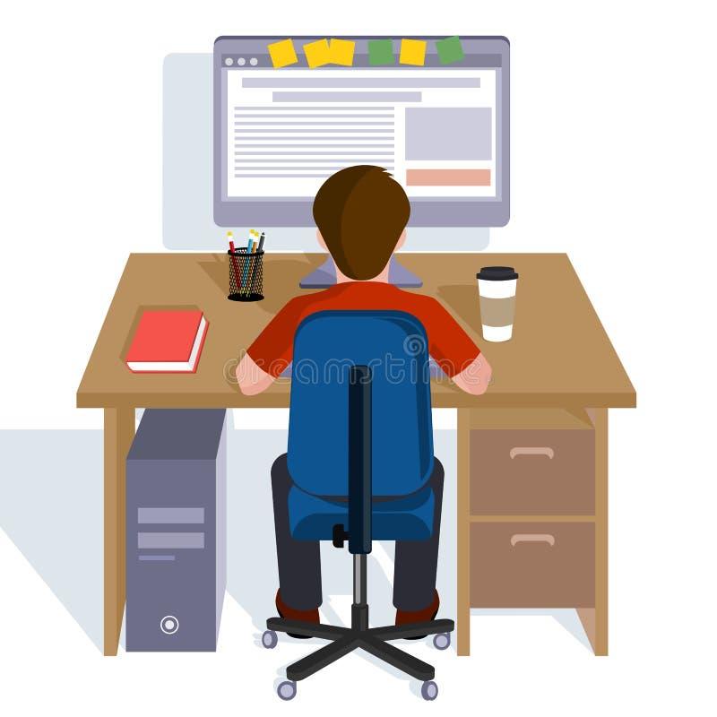 Persona que trabaja en el ordenador Ejemplo plano del estilo ilustración del vector