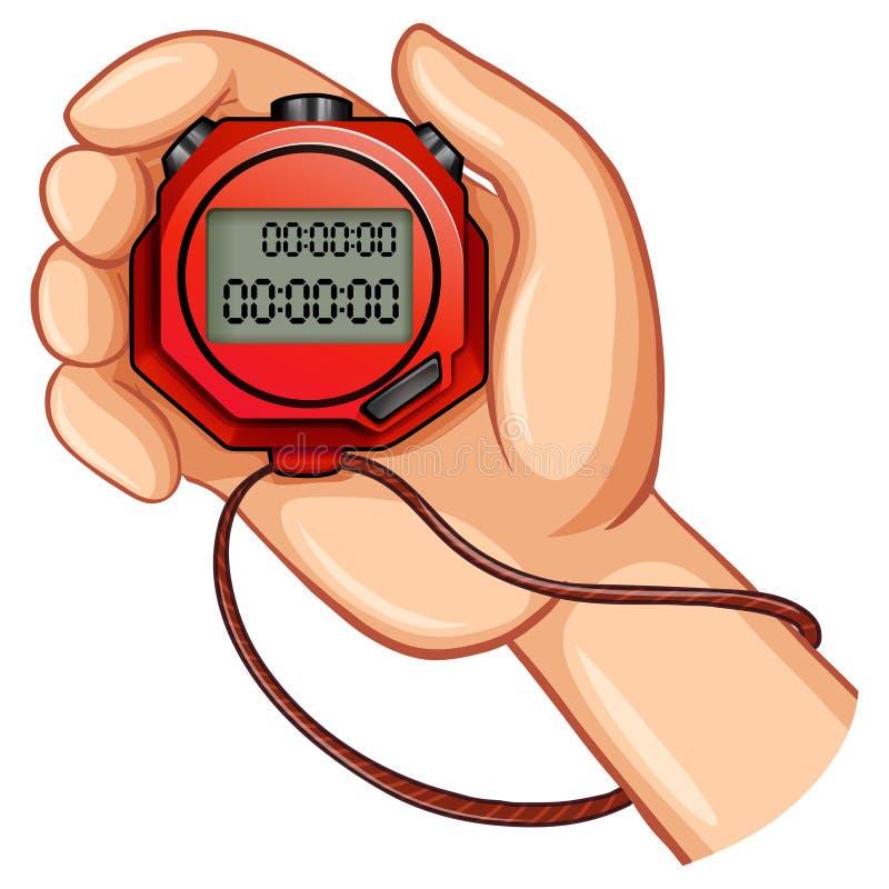 Persona que usa el cronómetro digital stock de ilustración