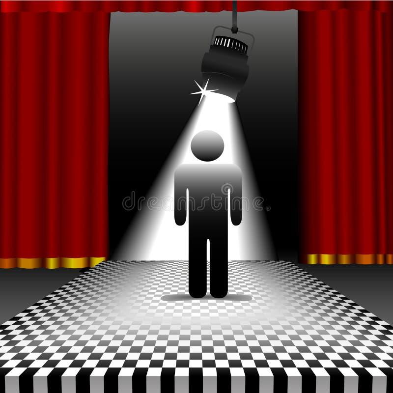 Persona in riflettore sul pavimento della scacchiera royalty illustrazione gratis