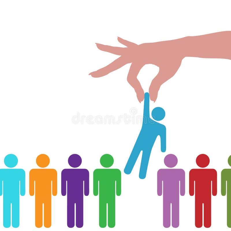 Persona selecta del hallazgo de la mano en la línea de gente ilustración del vector