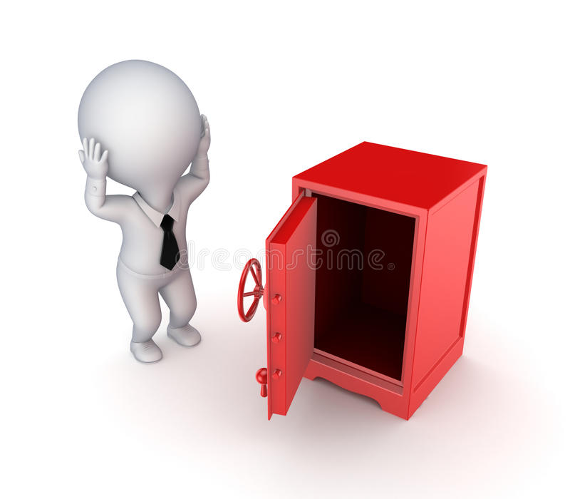 Persona sicura e sollecitata 3d del ferro piccola. illustrazione di stock
