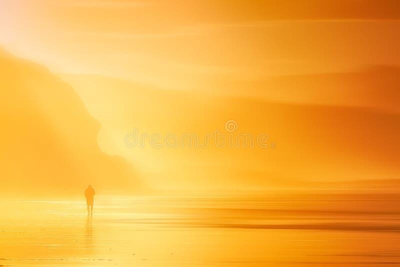 Persona sola que camina en la playa en la puesta del sol fotografía de archivo libre de regalías